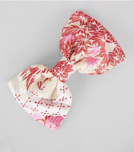 Pink Oriental Print Bow Hair Clip | New Look