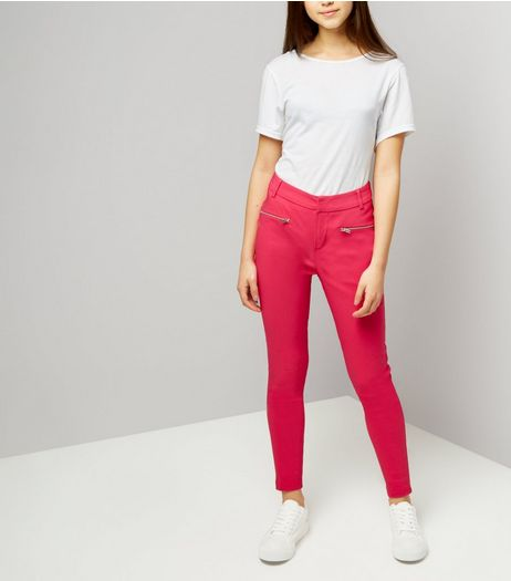 Teens Bright Pink Zip Pocket Skinny Trousers | New Look