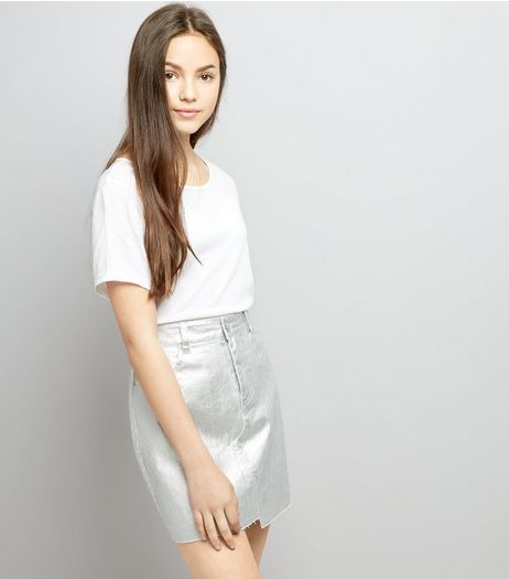 Teens Silver Metallic Skirt  | New Look