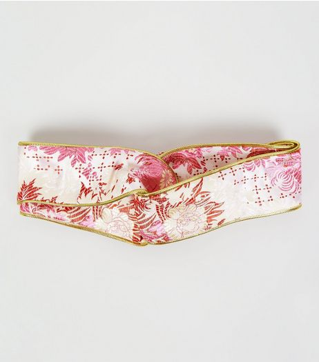 Pink Floral Metallic Trim Twist Front Headband | New Look