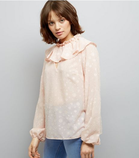 Shell Pink Frill Trim Long Sleeve Top | New Look