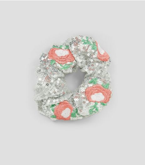 Silver Sequin Floral Embroidered Scrunchie | New Look