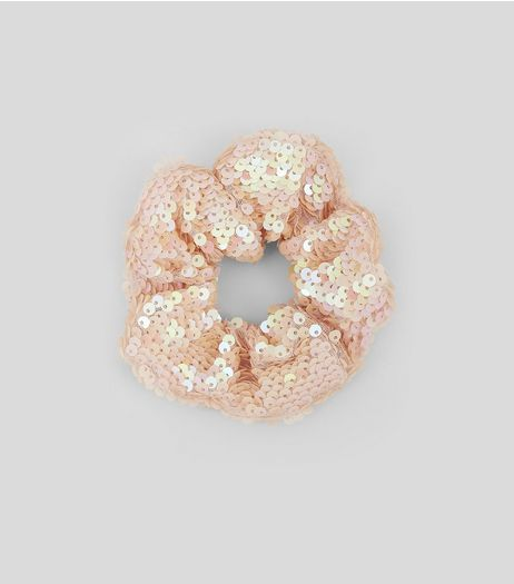 Pink Sequin Scrunchie | New Look
