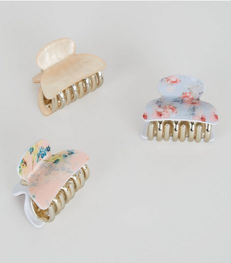 3 Pack Pink Floral Print Bulldog Clips | New Look