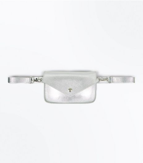 Silver Mini Satchel Purse Belt | New Look