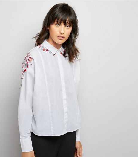 White Embroidered Detail Long Sleeve Shirt | New Look