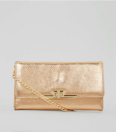Rose Gold Pearly Purse Clutch | New Look