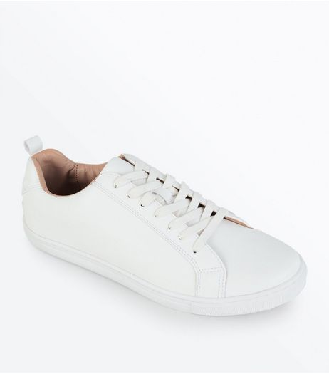 White Contrast Inner Lace Up Trainers | New Look