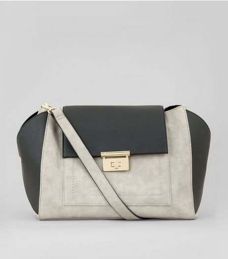 Grey Contrast Slouchy Bag | New Look