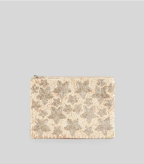 Shell Pink Sequin Star Embellished Clutch Bag | New Look