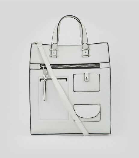 White Utility Pocket Front Tote Bag | New Look