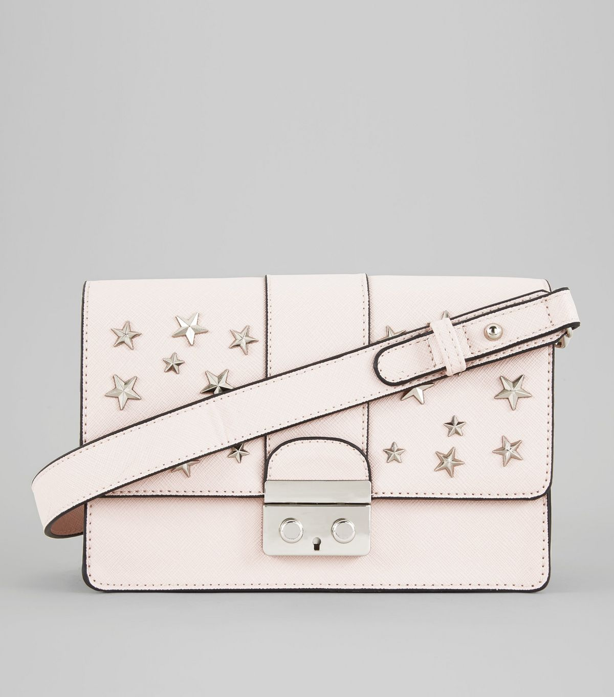 Shell Pink Star Stud Shoulder Bag | New Look
