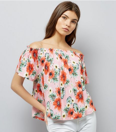 Pink Floral Print Bardot Top | New Look