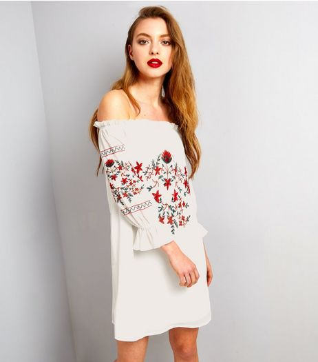 Parisian White Floral Embroidered Bardot Neck Dress  | New Look