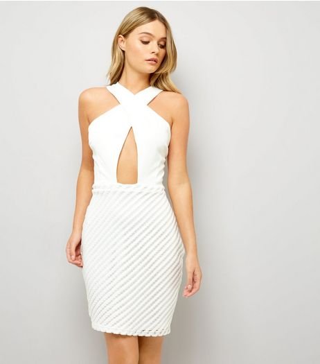 Parisian White Cut Out Halter Neck Dress  | New Look