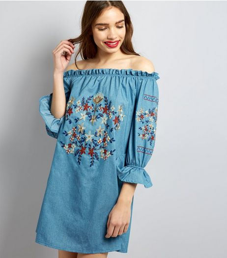 Parisian Blue Floral Embroidered Denim Dress | New Look