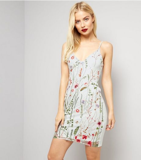 Parisian White Floral Embroidered Mesh Dress | New Look