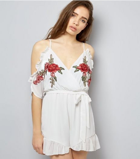 Parisian White Floral Embroidered Frill Trim Playsuit | New Look