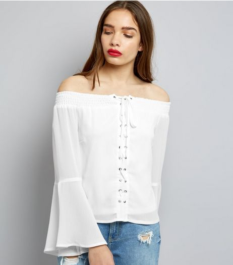Parisian White Eyelet Lace Up Front Bardot Neck Top | New Look
