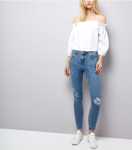 Blue Ripped Paint Splatter Skinny Jenna Jeans | New Look