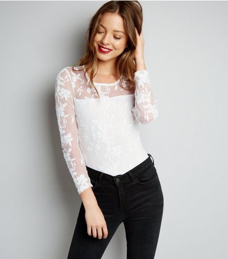 Parisian White Mesh Panel Embroidered Bodysuit | New Look