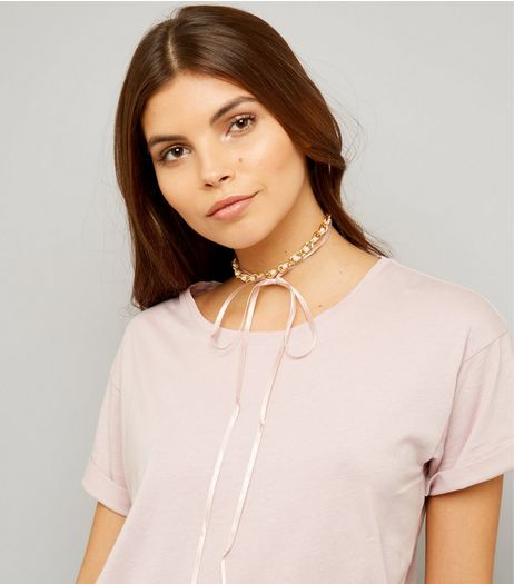 Pink Pearl and Gold Chain Wrap Choker | New Look