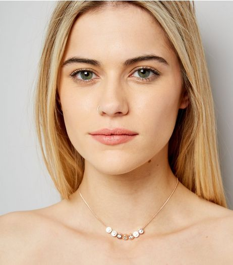 Gold Cubic Zirconia Bead Pendant Necklace | New Look
