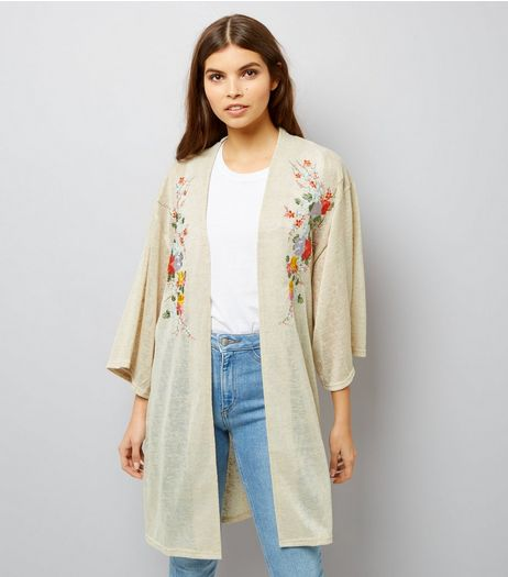 Blue Vanilla Stone Floral Embroidered Cardigan | New Look