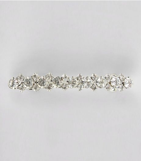 Silver Diamante Barette Clip | New Look