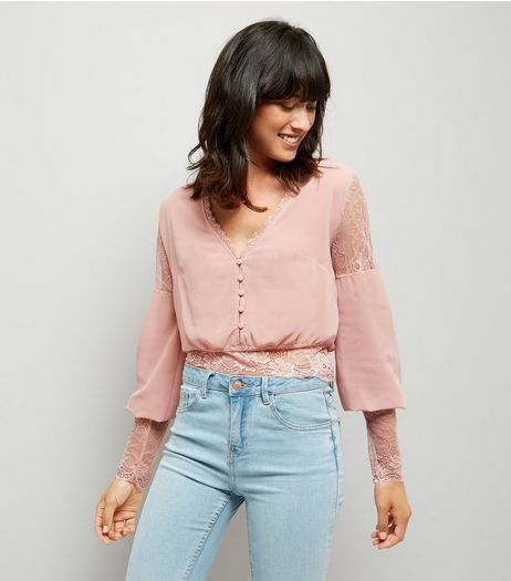 Pink Vanilla Pink Lace Trim Blouse  | New Look