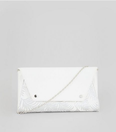 Silver Metallic Tropical Print Clutch Bag | New Look