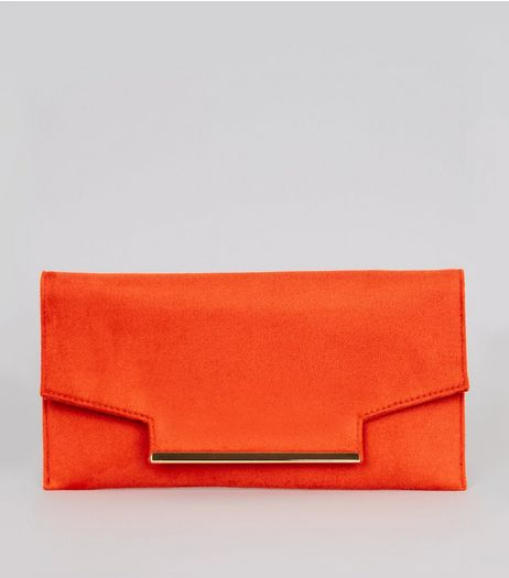 Orange Metal Trim Clutch Bag | New Look