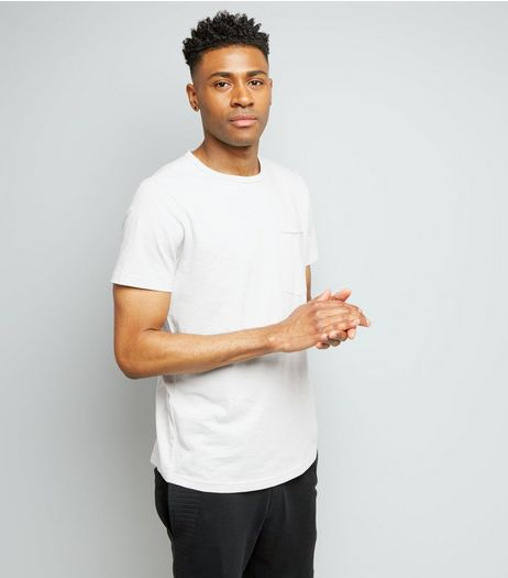 Pale Grey Pocket Front Curved Hem T-Shirt | New Look
