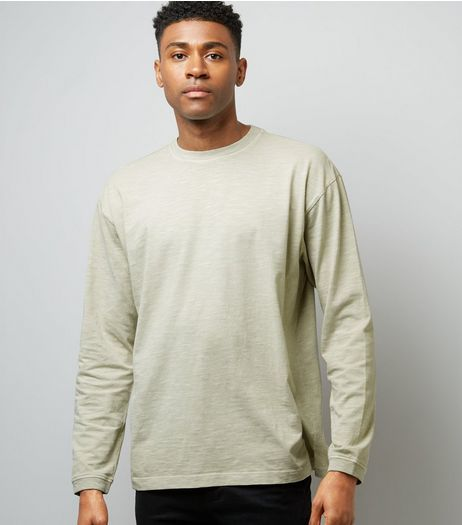 Grey Round Neck Long Sleeve T-Shirt | New Look