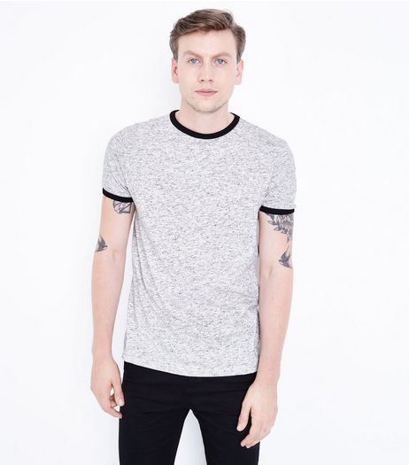 Grey Marl Ringer T-Shirt  | New Look