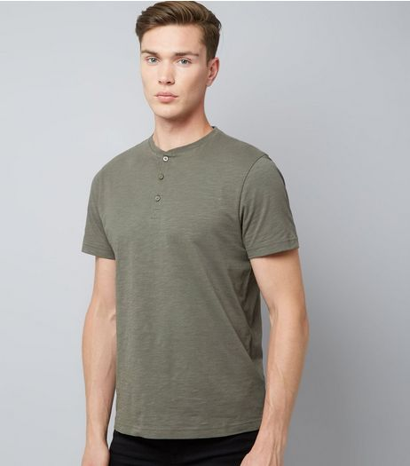 Khaki Henley Shirt | New Look