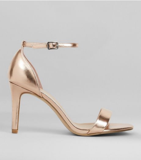 Wide Fit Rose Gold Metallic Heeled Sandals  | New Look