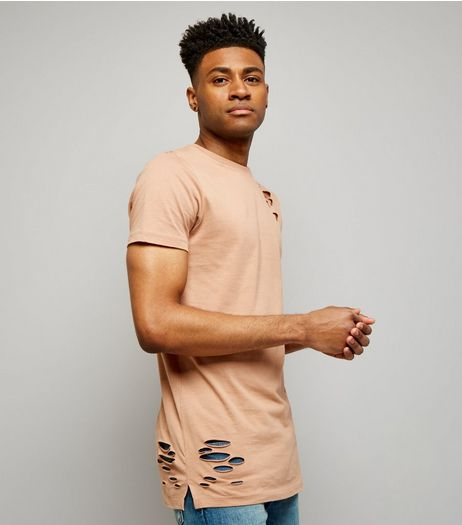 Pink Ripped Longline T-Shirt | New Look