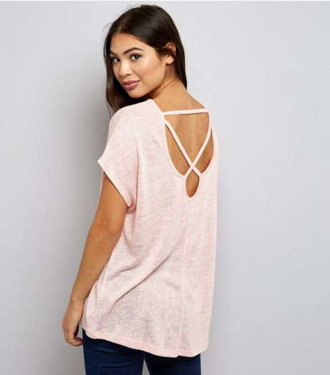 Pink Cross Strap Back T-Shirt  | New Look