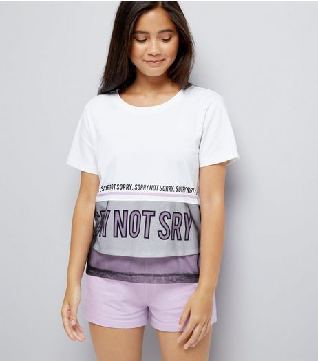 Teens White Sorry Not Sorry Slogan Pyjama Set  | New Look