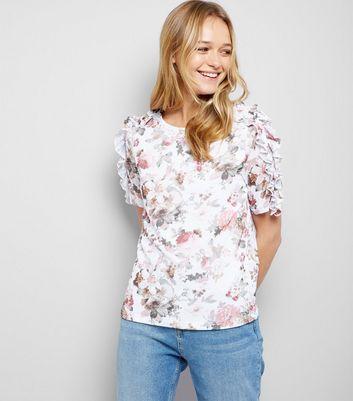White Mesh Floral Print Frill Trim T-Shirt