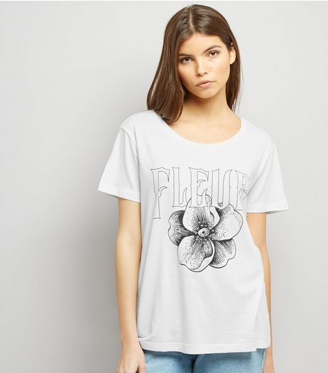 JDY White Fleur Print Short Sleeve T-Shirt  | New Look