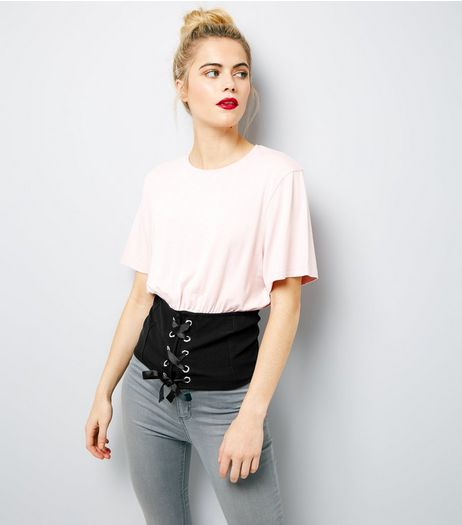 Pink 2 in 1 Corset Hem T-Shirt  | New Look