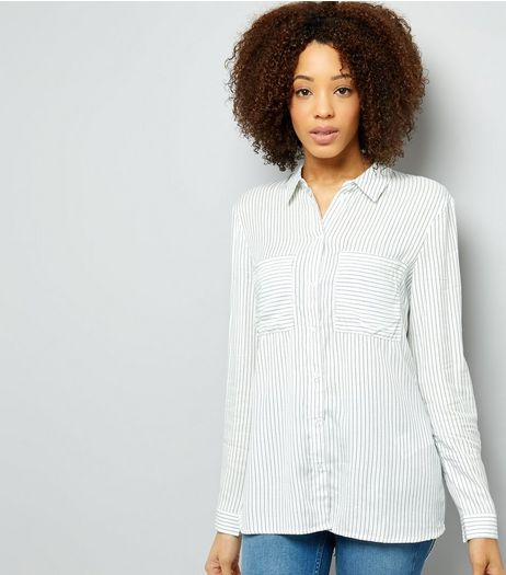 JDY White Stripe Double Pocket Front Shirt | New Look