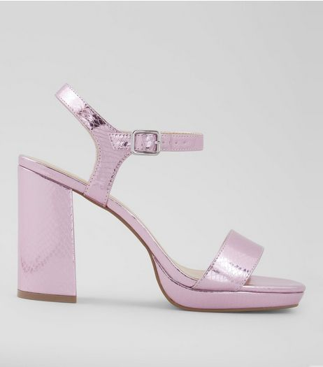 Wide Fit Pink Metallic Snakeskin Textured Block Heels | New Look