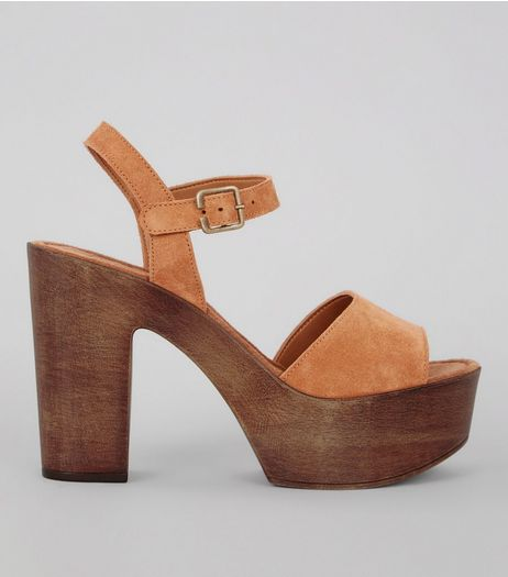 Tan Suede Wooden Block Heeled Sandals | New Look