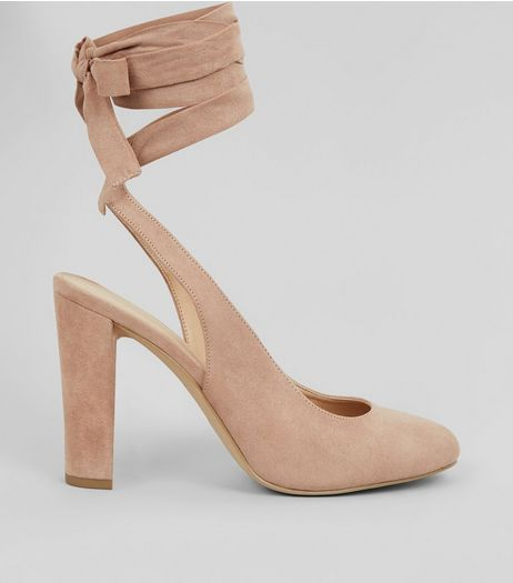 Nude Pink Suedette Tie Up Block Heels  | New Look