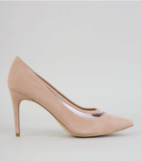 Nude Pink Suedette Transparent Trim Court Shoes  | New Look