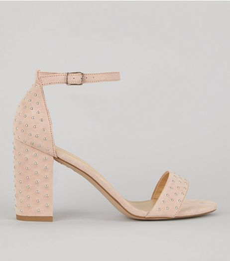 Shell Pink Stud Detail Heeled Sandals | New Look