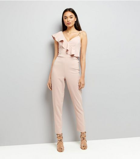 Pink Assymetric Frill Trim Jumpsuit  | New Look